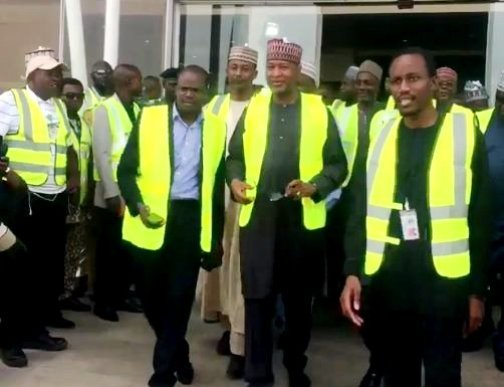 Minister of State for Aviation, Hadi Sirika, at the Abuja airport on Tuesday
