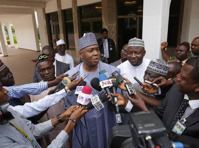 Senate President Bukola Saraki fields questions from State House correspondents after meeting with President Buhari on Monday