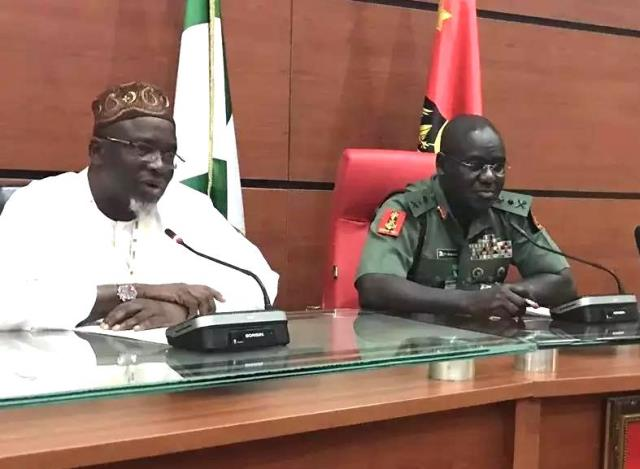 JAMB Registrar, Ishaq Oloyede during a visit on the Chief or Army Staff, Tukur Buratai, at the Army Headquarters, Abuja