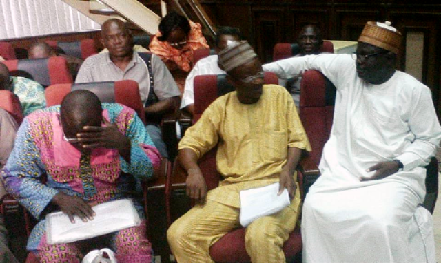 Some of the accused INEC officials during the arraignment at the federal high court in Abuja.