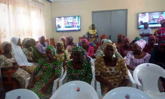 Some of the Chibok girls at the National women development centre, Abuja on Tuesday