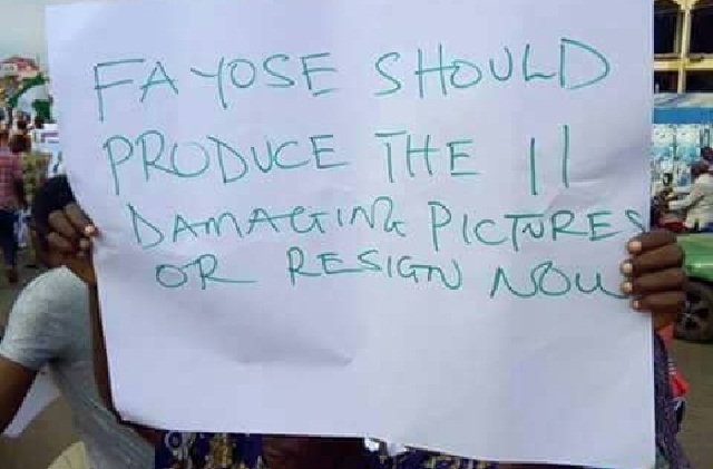 PHOTOS: Ekiti protesters ask Fayose to resign over false claims on Buhari's health