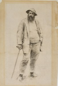 Monet by Theodore Robinson, 1890, charcoal on paper.