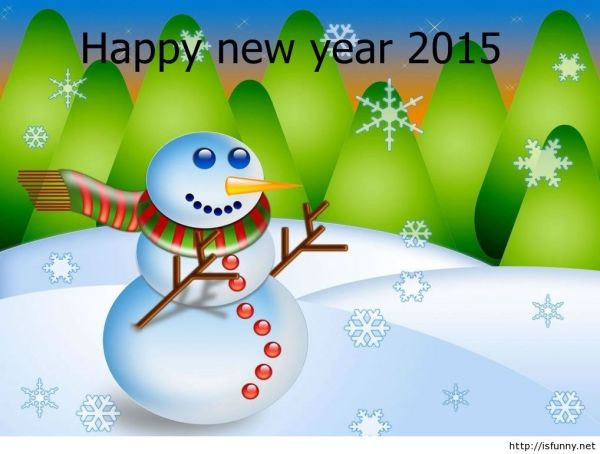 happy new year snowman 2015