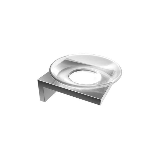 V1523 - Volkano Erupt Glass Soap Dish - Chrome