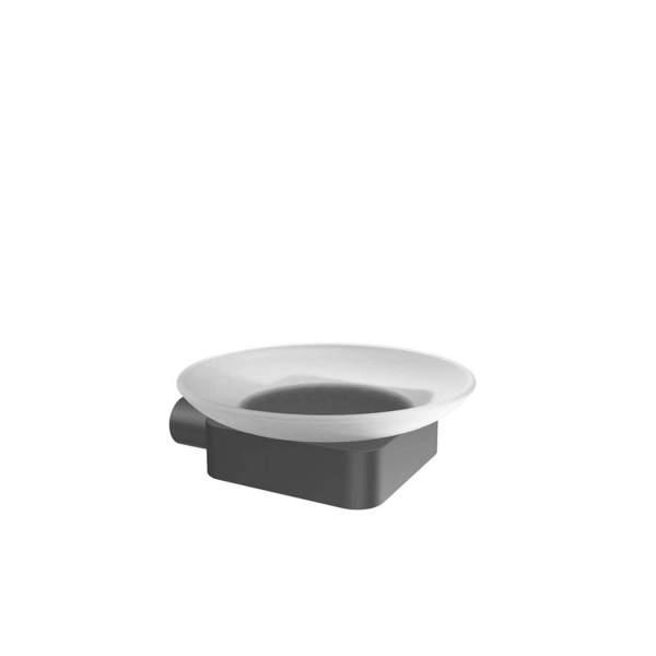 V4515 - Volkano Flow Glass Soap Dish - Matte Black