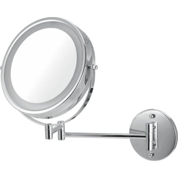 V9053 Volkano Wall-Mounted Lit Mirror with Zoom - Chrome