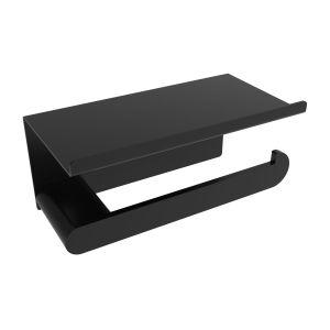V4055 - Volkano Flow Toilet Paper Holder With Shelf - Matte Black