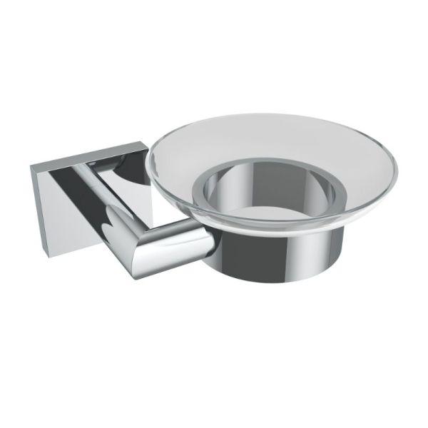 V62523 - Volkano Crater Glass Soap Dish - Chrome
