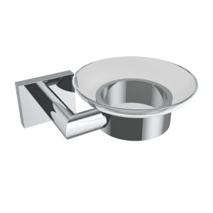 V62523 - Volkano Crater Glass Soap Dish - Chrome
