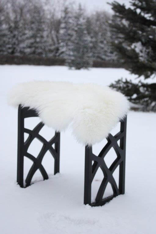 Shower Stool in snow with fluff