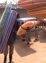 See  of the families receiving their mattresses and blankets