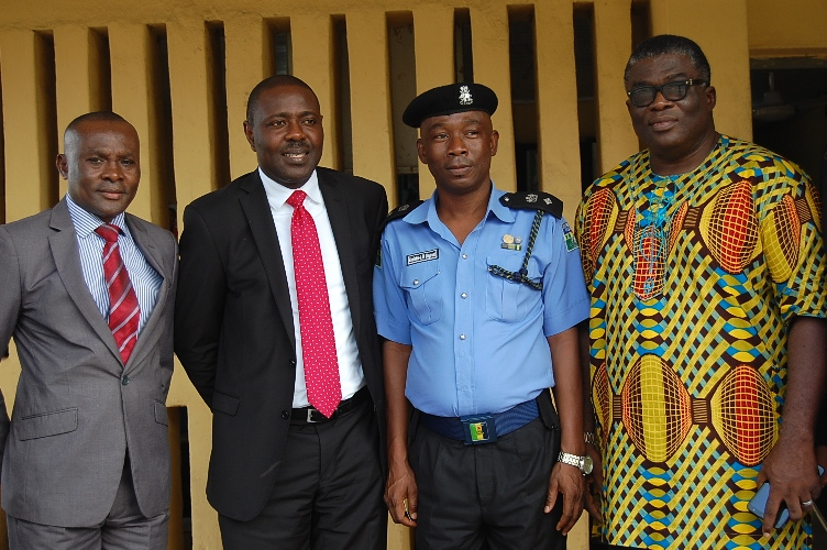 L-R)  ICOC Ikeja-Ketu/Mowe Men's Forum Committee Member, Mr. Desmond Ekeh,  Chairman of the Forum, Mr. Uwamai Igein, DPO Alausa Police Station, Gbolahan Olugbemi and the Evangelist Ikeja-Ketu/Mowe Region of International Church of Christ, Mr. Emeka Okechukwu at the donation of laptops and printer to Alausa Police Station as part of Ikeja-Ketu/Mowe Men's Forum CSR initiative in Lagos