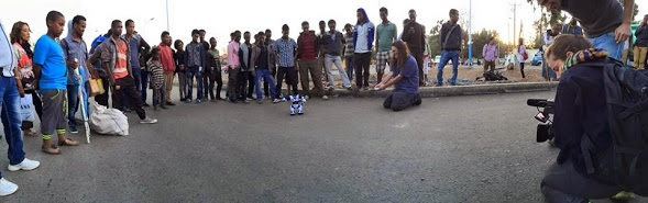 Robo Sapiens in the street of Addis: Photo Courtesy of Ruiting Lian