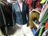 Blå kavaj, läder, 38, 350 kr