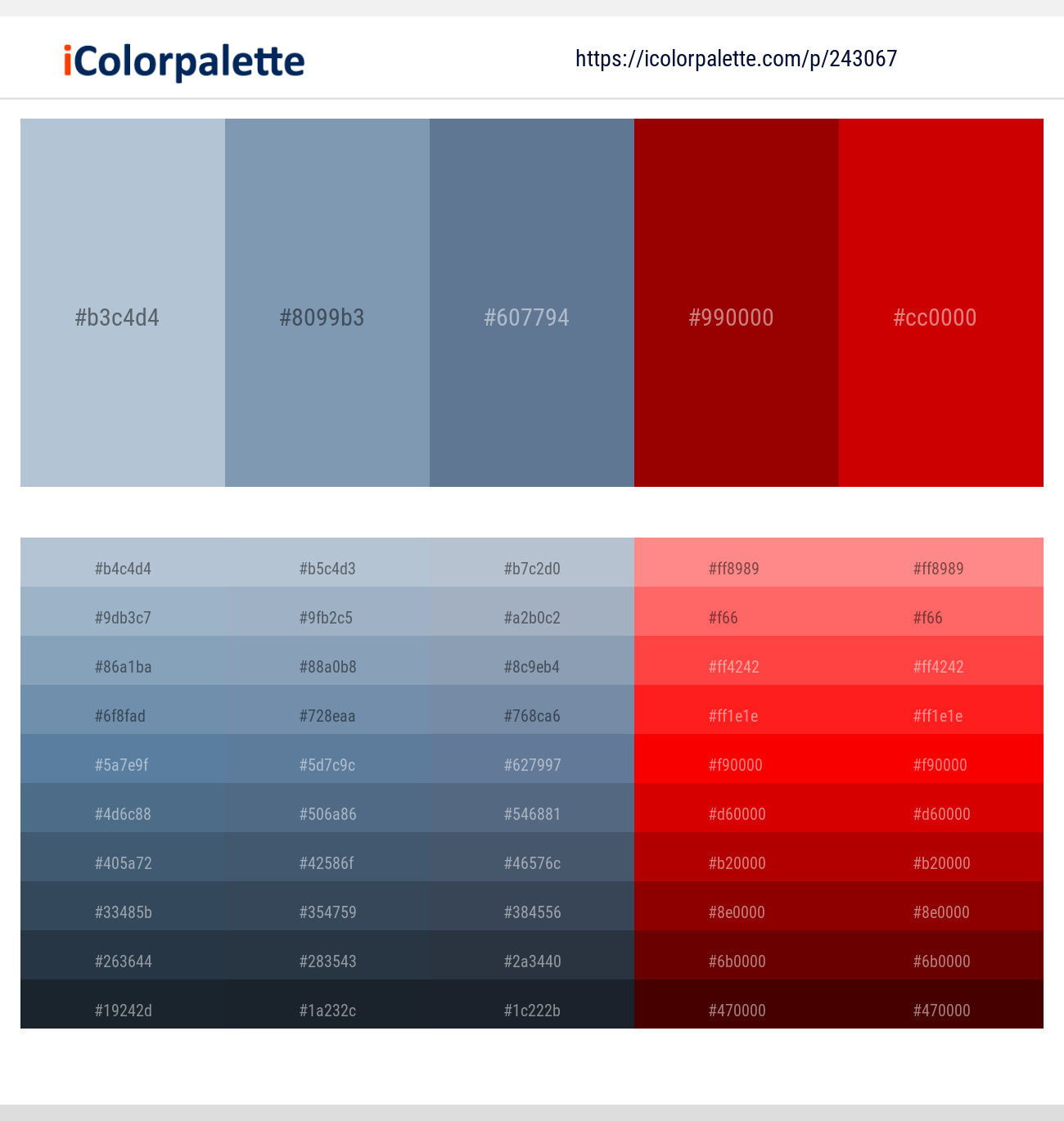 16 Color Palettes With Light Steel Blue And Red Color In 2019