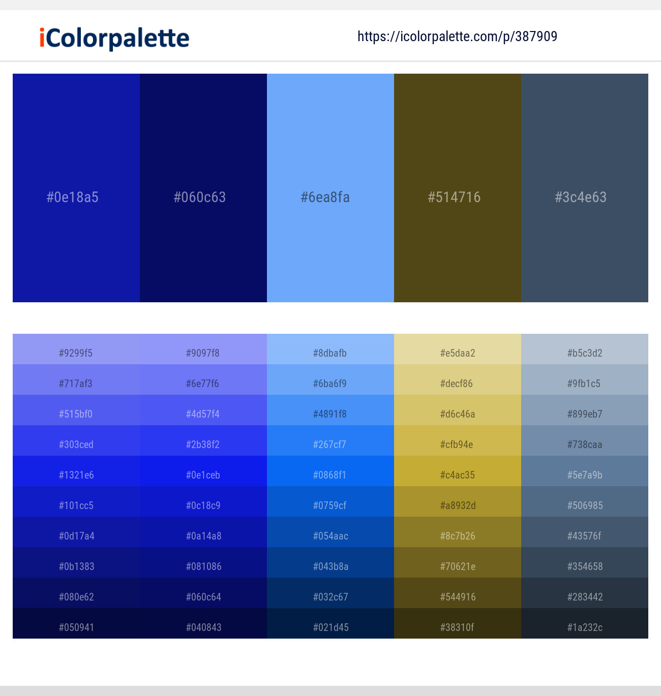 12 Color Palettes With Dark Blue And Light Sky Blue Color In 2019