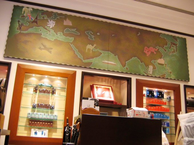 bespoke graphic mural artwork, Ulaanbaatar journey, alfred dunhill, map art, retail display, graphic design, gentleman's retailer high class shop display, retail display propmakers