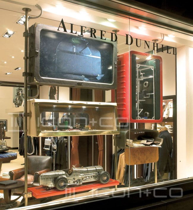 classic car window display scheme, modular display retail window, masculine, classic car interior, alfred dunhill, bespoke props