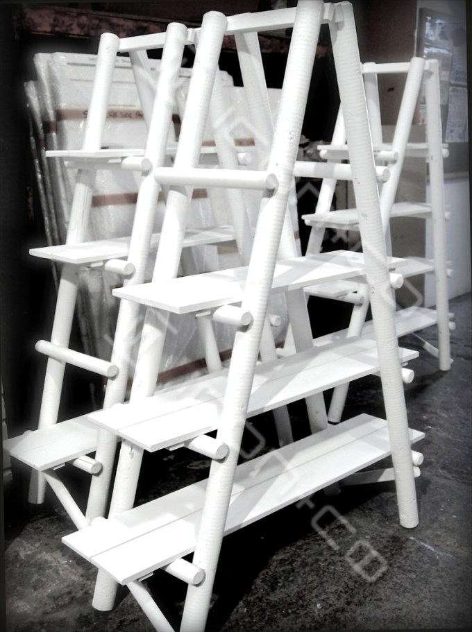 Retail Display Designers, rustic white retail vm prop shelf, wood, ladder, lean-to, vintage