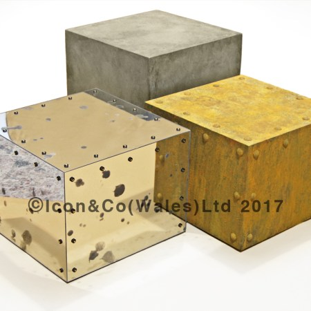 fake rust concrete style display boxes plinths risers stone effect hand painted pretend