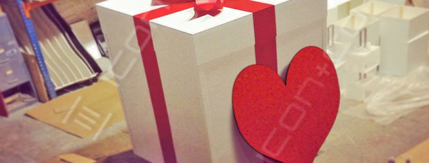 Giant props, display gift wrapped gift present giant prop oversized love heart ribbon bow st Valentines day