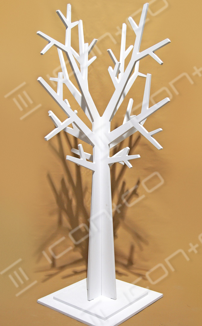 decorative tree display props, Full-size MDF display trees, off the shelf props, fall, autumnal, stylised, mdf display feature, shop retail store window scheme, flat-pack, interlocking self-assembly
