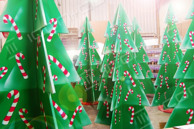 christmas display tree, pine forest, xmas trees, flat pack mdf christmas prop, candy cane decs decorations, custom made customised customized decorations & xmas props for sale
