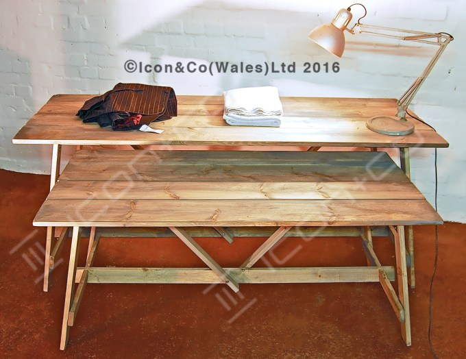 Trestle Display Table tables, pop up fold away, flat pack, portable nesting display reclaimed recycled timber, antique, retro, retail carpenters carpentry joinery, nest,