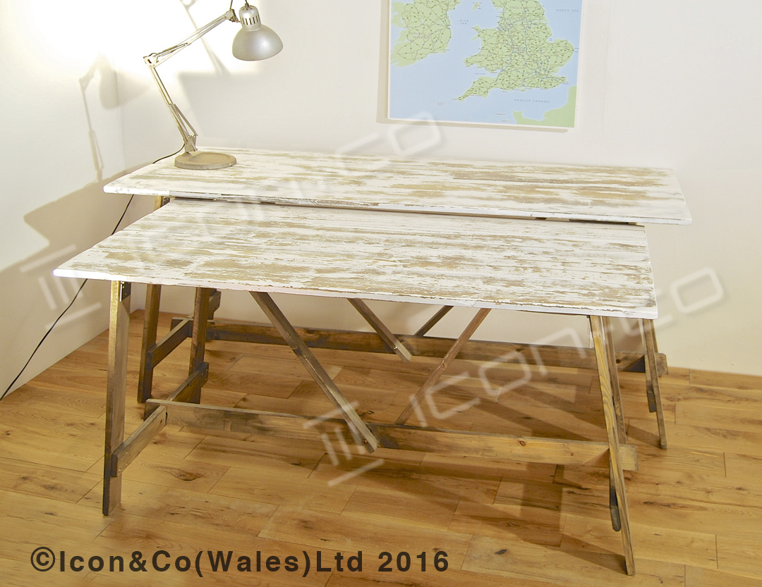 Shabby Chic Distressed Paint Finish Retro Industrial Urban Vintage Fold  Down Fold Away Trestle Desk Part 69