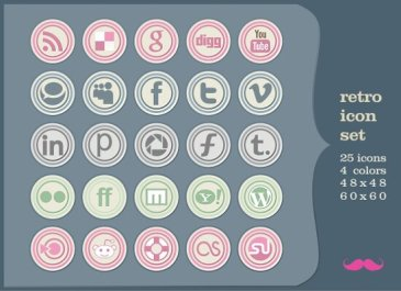 icônes sociales rétro