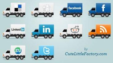 Icônes réseaux sociaux camion