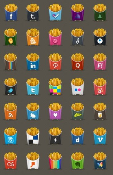 Icônes sociales frites