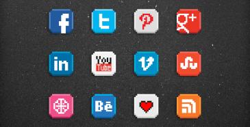 8-bit Social Icones