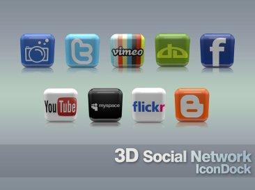 icônes sociales 3D