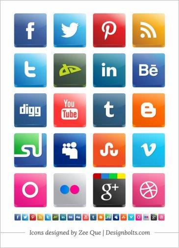 Vector 3D Social Media Icones