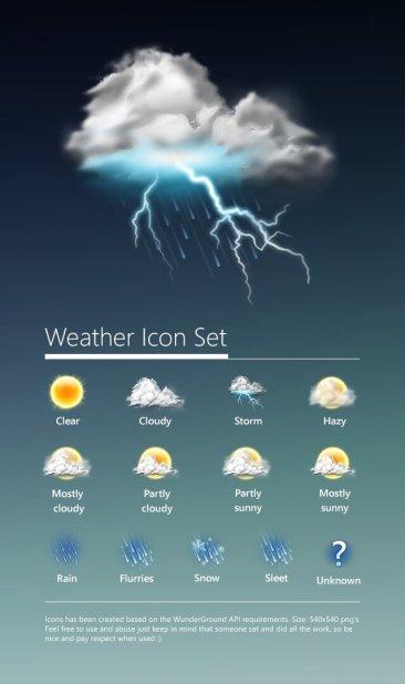 19 icônes météo