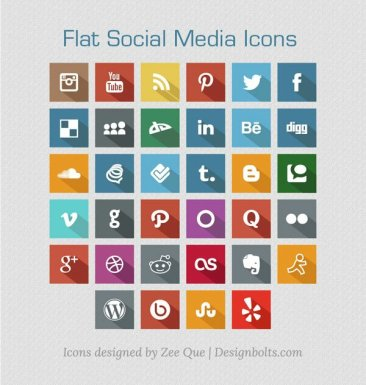 Flat Social Media Icones