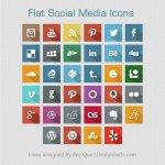 Flat Social Media Icons 2013