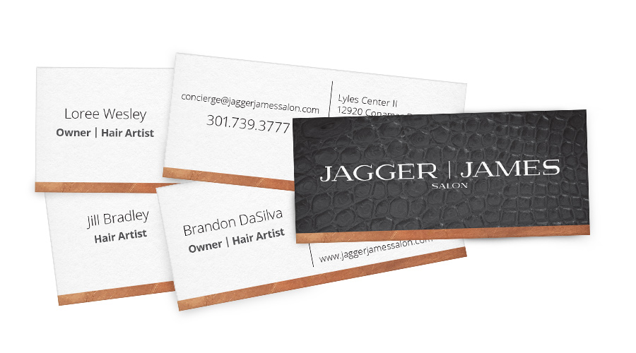 Business card design for Brandon, Loree, and Jill, along with a generic concierge card.