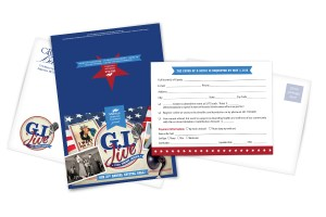 "invitation card Displays ""GI Jive"" prominently on the front with retro images as well as 2 envelopes and an RSVP card"