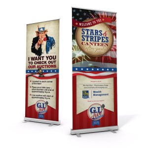 "Two Banner stands with Patriotic design. One with Uncle Sam saying ""I want you to check out our auction"". Second one Displayes in large bold letters ""STripes and Stars"""
