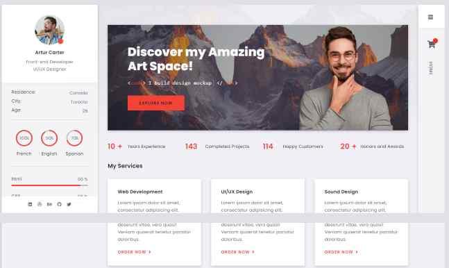 Arter a web developer CV Resume WordPress