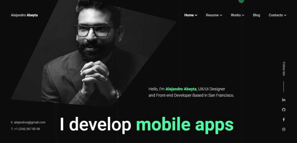 Cvio a mobile app developer portofolio CV Resume WordPress Theme