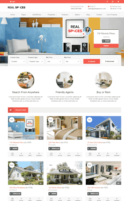 Real Spaces a WordPress Properties Directory Theme