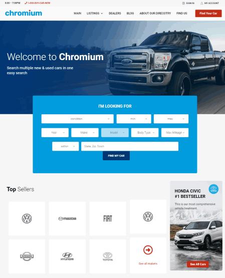 Chromium a car sales website template