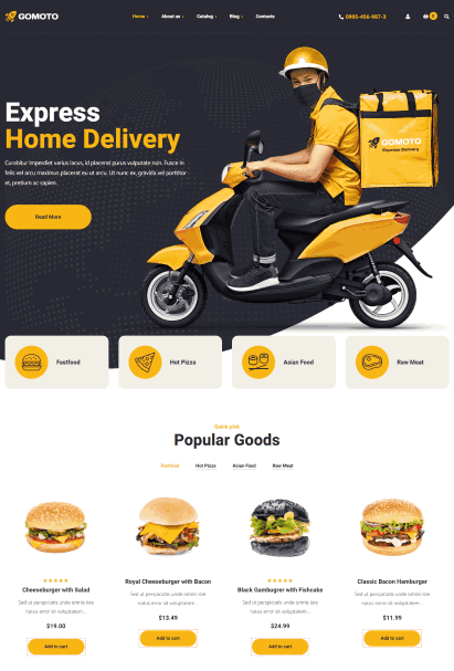 Gomoto a on demand delivery website template