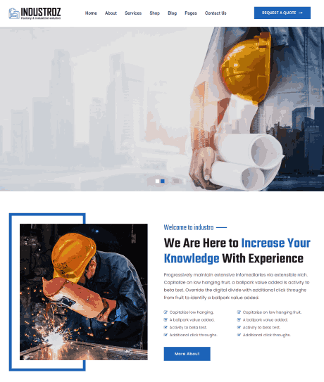 Industroz a Factory & Industrial WordPress Theme