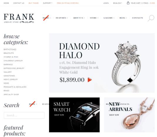 Frank a jewellery shop website template