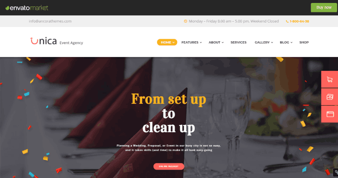 Unica an event management company website template